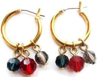 Vintage  Napier Gold Tone Hoop Faceted Crystal Drops  Earrings