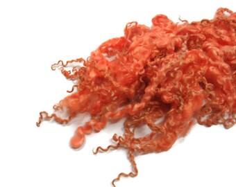 1oz,Prime Wensleydale wool locks ,First clip, Hand-picked ( Burnt Orange )