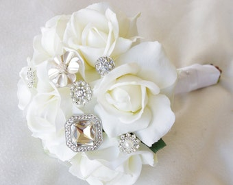 Silk Brooch Wedding Bouquet - Natural Touch Roses and Brooch Jewel Small Bride Bouquet - Rhinestones