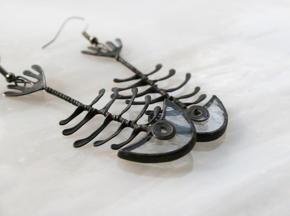 Fish Bone Earrings, Clear Skeleton, Statement Jewelry, Summer Fashion, Unique Fish, Pisces