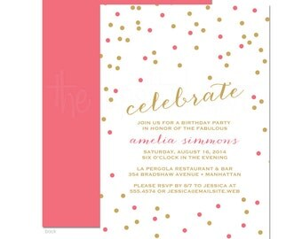Celebrate Gold & Pink Confetti Birthday Party Invitations - DIY Printable File or Printed Invitations