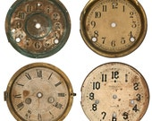 Digital image of 4 vintage clock faces, dials. Printable High resolution jpg. Professionally scanned. Background removed.