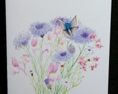 Pink and Purple Wildflowers with Butterfly Watercolor Painting Notecard, Spring Flowers