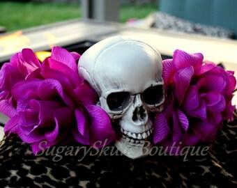 Dia de los Muertos Headpiece, Book of Life Inspired, Headband, Sugar Skull Fuchsia Flowers, Halloween Prop, Costume Day of the Dead Wedding