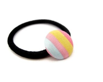 Rainbow Ponytail Holder/ Colorful Ponytail Holder/ Tiny Ponytail/ Kids Pig Tail/ Button Elastics/ Girl Ponytail Holder