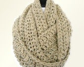OVERSIZED INFINITY Scarf Knit Crochet Scarf Gift for Him, Huge Scarf Chunky UniSex Scarf Infiniti Knit Scarf Women Mens Infinity Scarf Beige