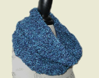 Blue Cowl Scarf Neck Warmer Handmade Knit