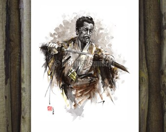 Samurai, japan style, samurai art, watercolor portrait, samurai poster, japanese warrior, aquarelle portrait