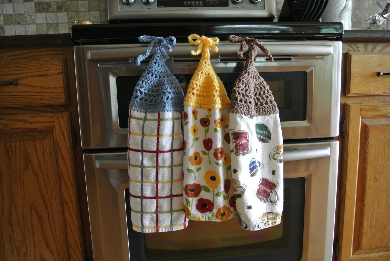 Crochet Tie Kitchen Towel PDF Instant by MadameStitchStudio