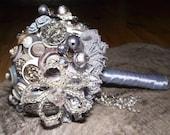 50 shades silver/ grey button bouquet