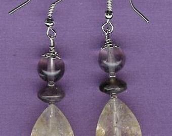 Earrings - Citrine, Amethyst, Sterling Silver