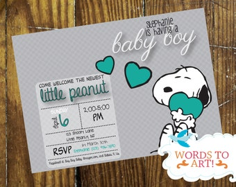 PRINTABLE [DIY]: CUSTOM Snoopy  Baby Shower Invitations- Boy or Girl-- Pick Your Colors