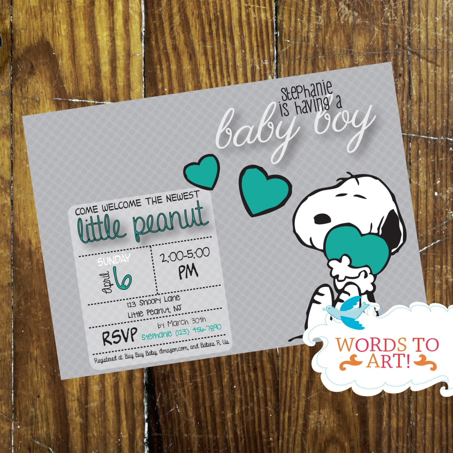 PRINTABLE DIY CUSTOM Snoopy Baby Shower Invitations Boy