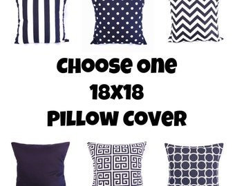 Navy Blue Throw Pillow Cover Geometric Greek Key Polka Dot Chervron Stripes Solid Decorative 18x18 Indigo White Nautical Zipper