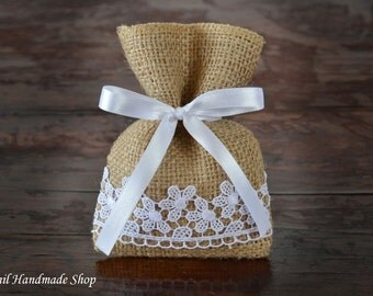 Rustic Favor Bags, Candy Buffet Bags, Burlap Favor Bags - SET OF 80