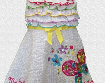 Youngland Girl's Butterfly and Flowers 1st Birthday Dress - 18 MO - D253