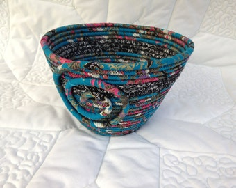 Fabric Coiled Bowl in Aqua/Black/White/Pink