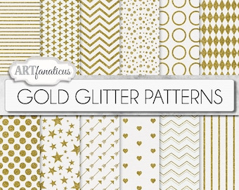 "Gold glitter papers ""GOLD GLITTER PATTERNS"" white gold glitter patterns, gold chevron,hearts, polkadots, stars on white textured background"