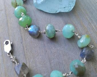 Sea Green Peruvian Opal & Labradorite Bracelet