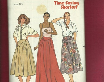 Vintage 1970's Butterick 6461 Chevron Yoke Flared Skirts with Side Buttons & Pockets  Size 10