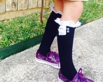 Girls lace Boot Socks Leg Warmers High Knee Knit Socks Toddler Girls Lace Trim Socks- Navy Blue Sock