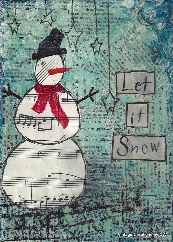 "Let It Snow - 5"" x 7"" Print of Original mixed media canvas, Christmas, snowman"