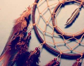 Brown dream catcher, brown web, rooster feathers, silver charm and hoop insert finish 15cm diameter dreamcatcher hand made