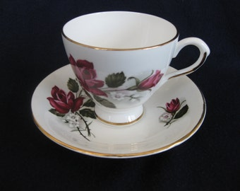Lefton Bone China with Rose Pattern Teacup and Saucer