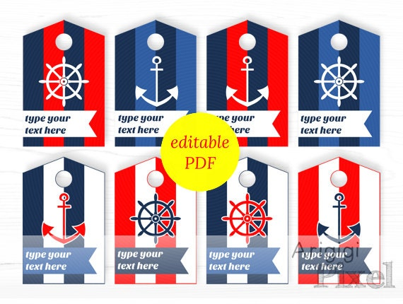 nautical hang tags, editable PDF, printable, personalized tags, striped gift tags, red blue colors, type your text, download