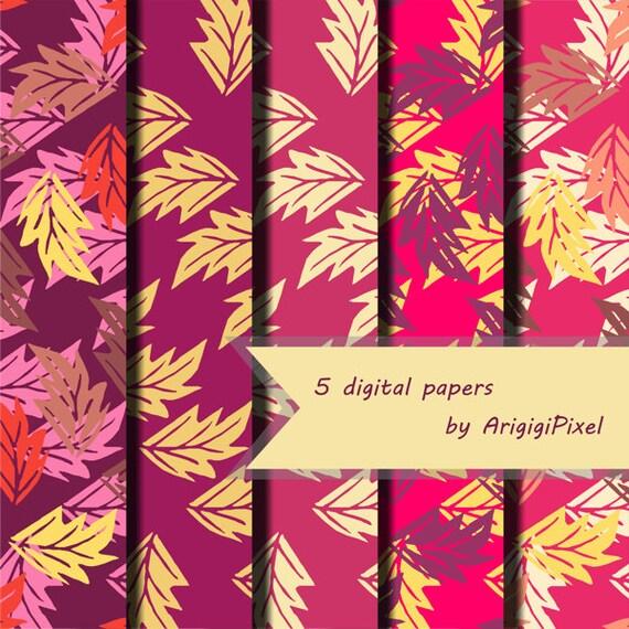 Fall Scrapbook Papers - Pink Purple Leaves - Digital Download
