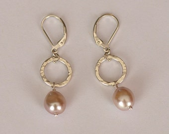 Hammered Circles and Baroque Pink Pearl Earrings - handmade sterling silver - dyed pink fresh water pearls