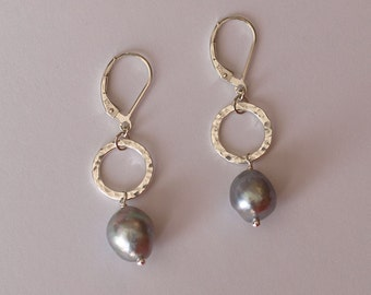Hammered Circles and Baroque Silver Pearl Earrings - handmade sterling silver - dyed silver/grey freshwater pearls