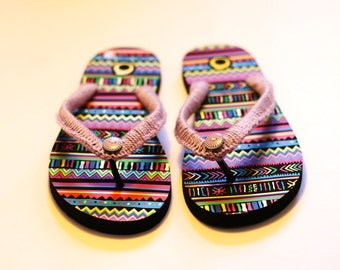 Multicolor customized flip flop with wooden button