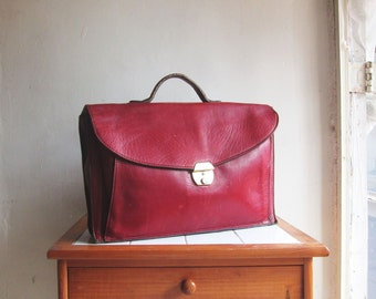 Vintage burgundy leather satchel handbag briefcase messenger bag