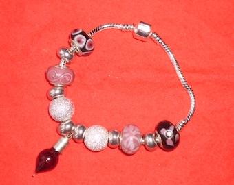 Love potion charm, beaded  bracelet. Valentine gift. Costume jewellery