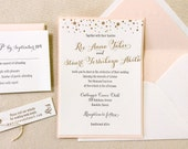 The Gladiolus Suite - Letterpress Wedding Invitation Sample - Black, Grey, Blush, Gold, Dots, Modern, Calligraphy, Pink, Modern, Confetti