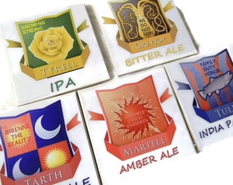 Game of Thrones Coasters Variety 5 Pack of Tyrell, Greyjoy, Tarth, Martell, Tully  (Hand Brushed Glossy Finish)