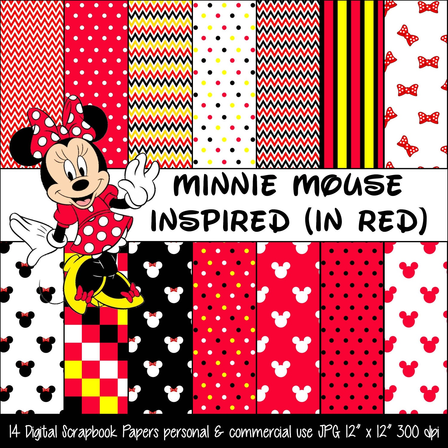 MINNIE MOUSE Inspired Red Polka Dot & Bow Digital Paper ...