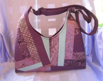 Quilted Berry and Green Shoulder Bag