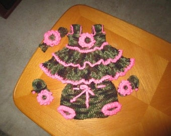 Camo and Pink Dress Set-4 piece set includes dress,headband& sandals with flowers and diaper cover has ruffled bottom