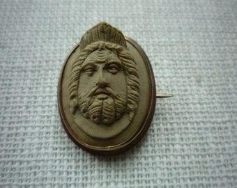 Antique Victorian Carved Lava Cameo Mythological Brooch Pin