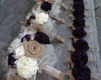 Beautiful bridal bouquets with handmade purple and burnt orange silk and burlap flowers(listing is for one bridal bouquet)
