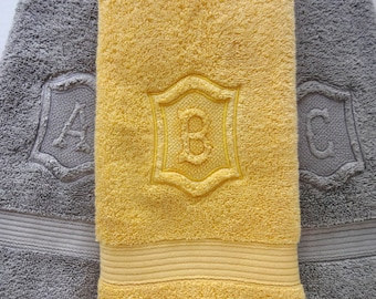 Personalized Hand Towels, hand towel, bathroom, personalized gift, embroidered  towels, grey yellow, grey and yellow bathroom, gray, wedding