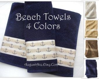 Beach Ocean Themed Bath Towels, Anchor, Bath Towels, Hand Towel, Anchor,