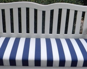 Indoor / Outdoor Swing / Bench Cushion   Blue And White Stripe   Choose Size