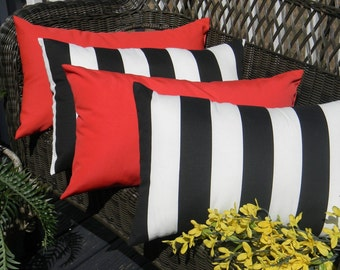 Set of 4 - Indoor / Outdoor Black & White Stripe and Solid Red Lumbar/ Rectangle Pillows