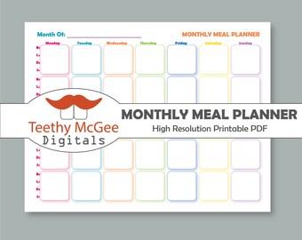 Monthly Meal Planner - Instant Download Printable Menu Planner