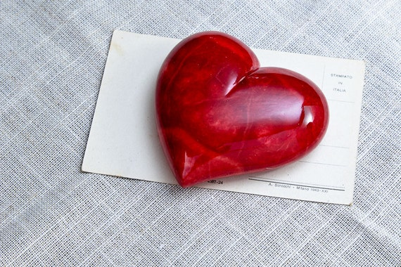 Red Alabaster Stone : Italian red alabaster heart free if you spend at least usd