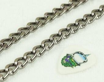 Aluminium Chunky Curb Chain, Gunmetal Curb  Chain, 10 feet Twisted Curb Chain, Chains for bracelets, 14x9mm, 3141.GU