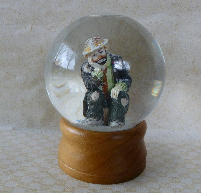 Vintage Emmett Kelly Signed Snow Globe By Flambro